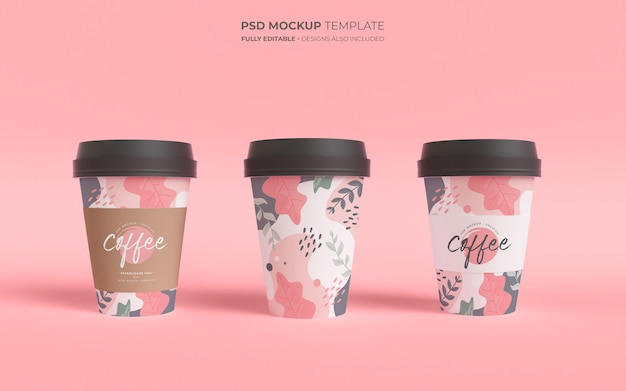 Mockup template with paper coffee cups