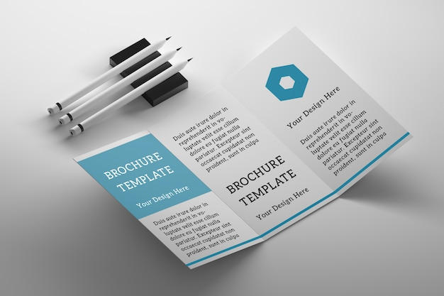 Mockup template with triple sided flyer booklet leaflet and three pencils on white