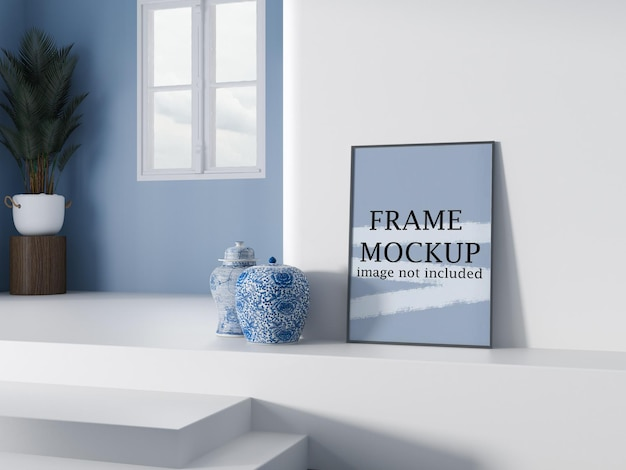 Mockup thin poster frame leaning against white wall
