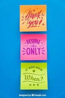 Mockup of three adhesive notes