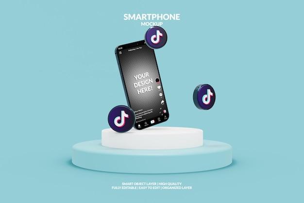 Макет шаблона интерфейса приложения tiktok на смартфоне с иконками tiktok