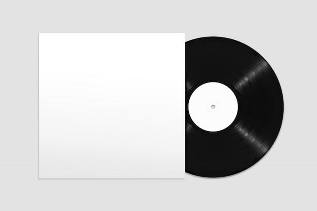Mockup of top view blank vinyl record with cover