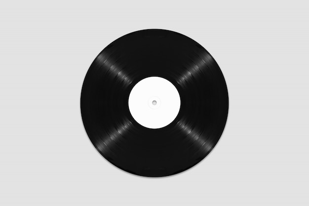 Mockup of top view blank vinyl record