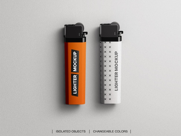 Mockup of top view flat lay plastic gas lighter isolated