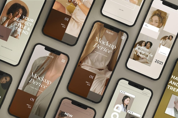 Mockup of top view realistic responsive devices screens
