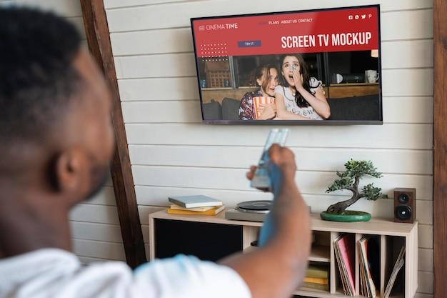 Макет экрана телевизора на стене Бесплатные Psd