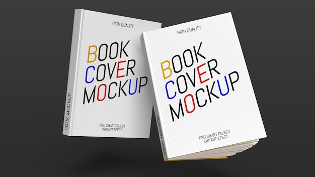 Mockup of two books on a dark gray background