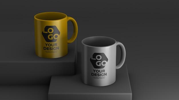 Mockup of two color ceramic coffee mug