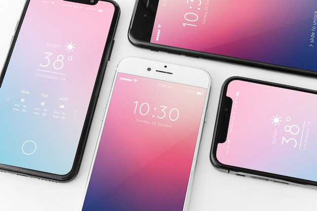 Mockup of various smartphones