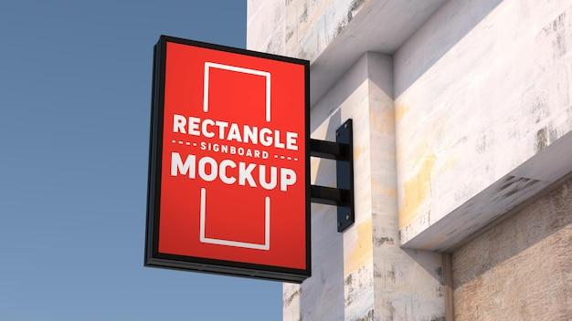 Mockup vertical rectangle signboard