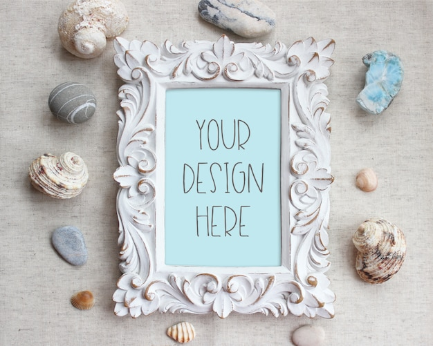 Mockup of vintage picture frame, sea themed