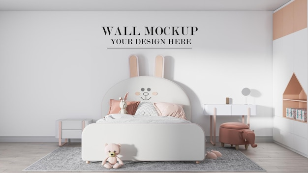 Mockup wall behind amazing child bed
