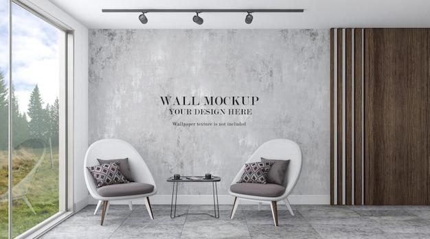 Mockup wall behind armchairs