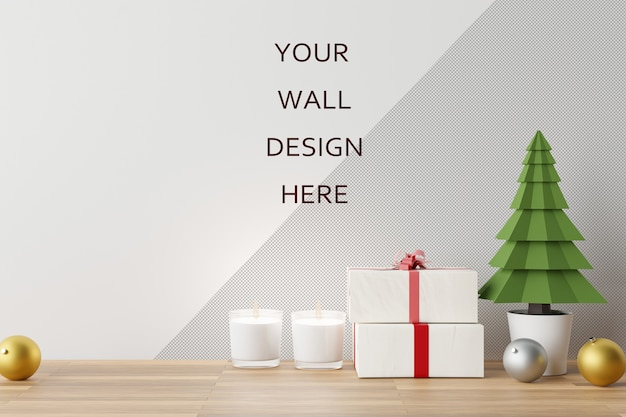 Mockup wall art with christmas decoration scene. 3d rendering.