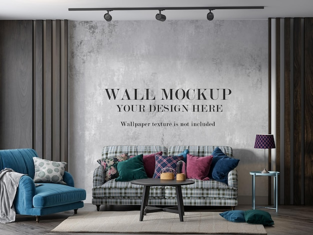 Мокап стены за клетчатым диваном