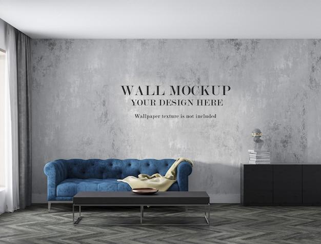 Мокап стены за диваном с минималистской мебелью