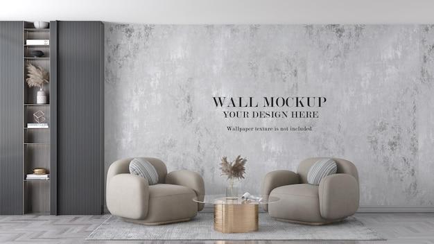 Mockup wall behind beige armchairs