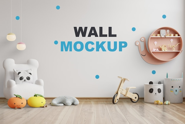 Mockup wall in the children's room on wall white colors .3d rendering