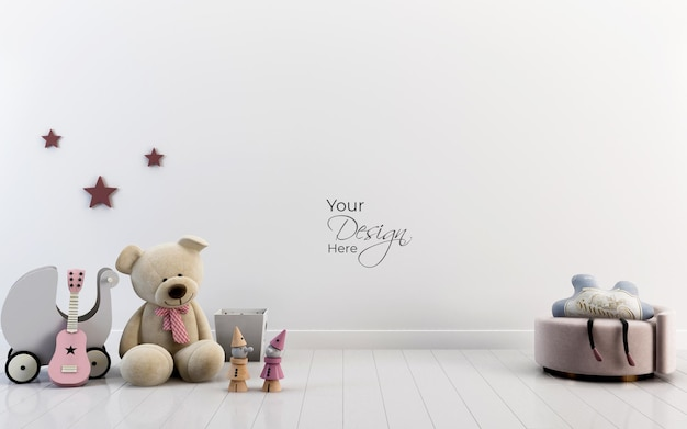 Mockup wall in the childrens room with teddy bear toy