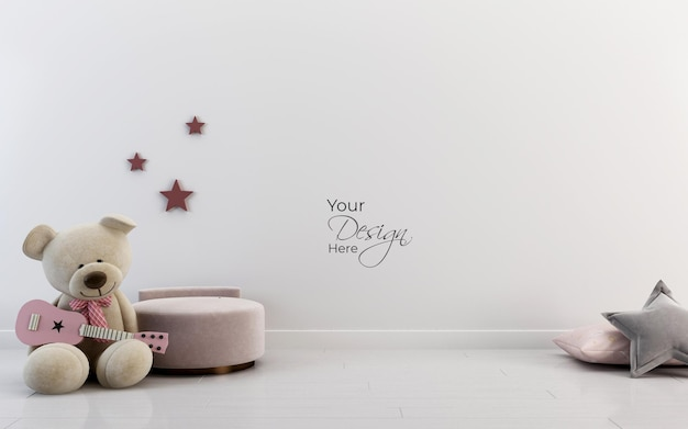 Mockup wall in the childrens room with teddy bear on white wall background