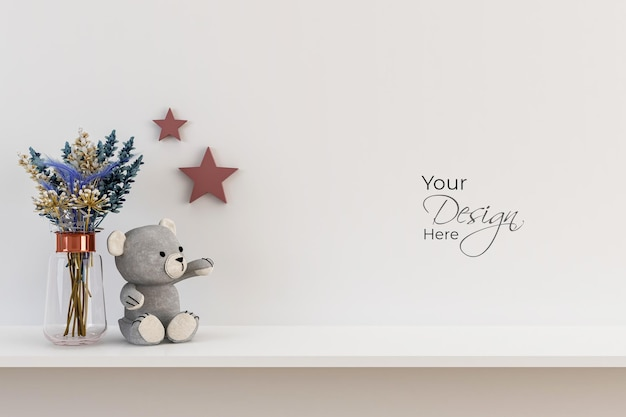 Mockup wall in the childrens room with teddy on white wall background