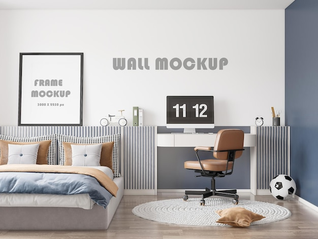 Mockup for wall coverings in a teenagers bedroom