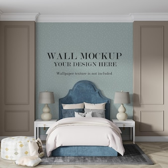 Mockup wall in cozy bedroom with minimalist furniture