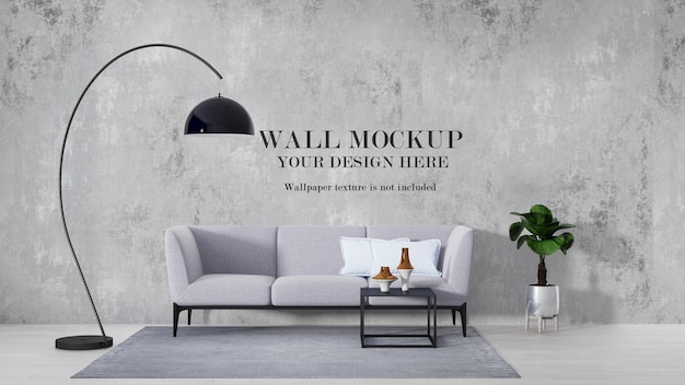 Mockup wall behind curved floor lamp and sofa