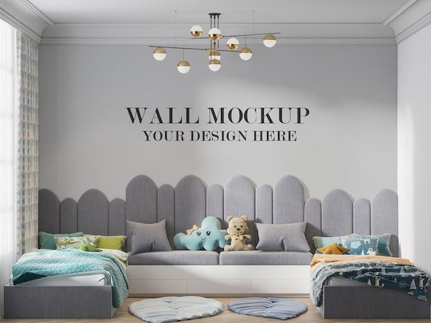 Mockup wall cute teenage twin bedroom in 3d rendering