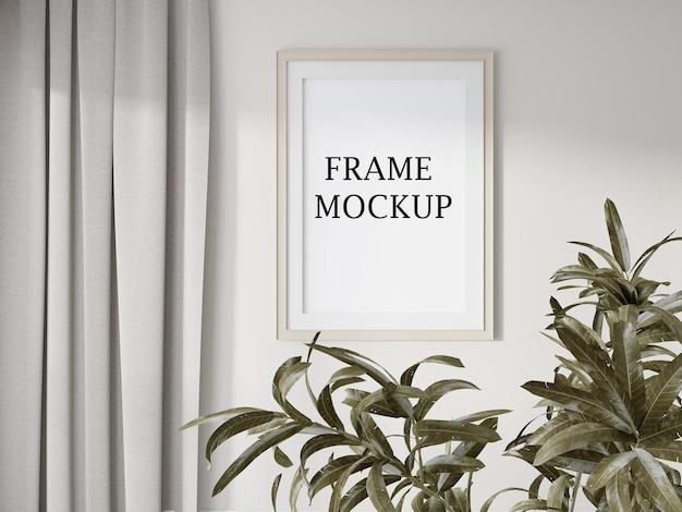 Mockup wall frame beside curtain