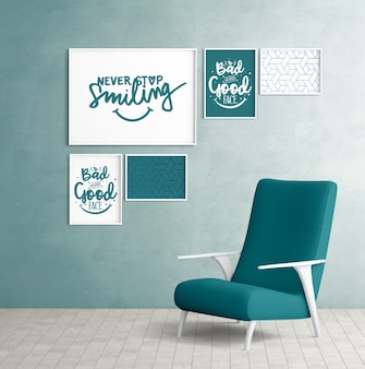 Mockup wall frames with bedroom chair