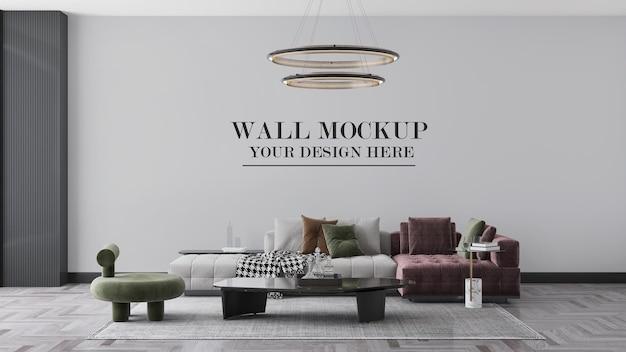 Макет стены в 3d-сцене с современной мебелью