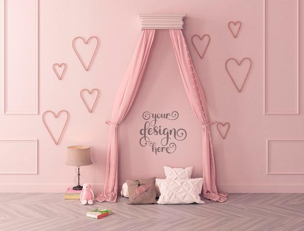 子供の寝室の古典的なスタイルのインテリアのモックアップ壁