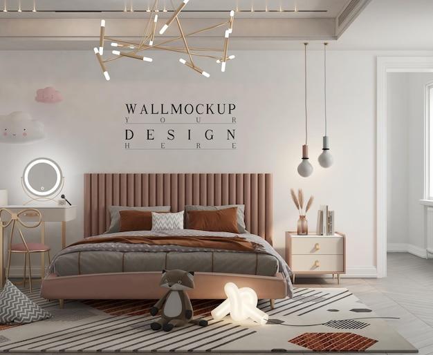 Макет стены в милой детской спальне
