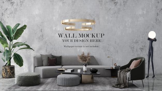 Мокап стены в интерьере, украшенный современной золотой металлической люстрой и мебелью