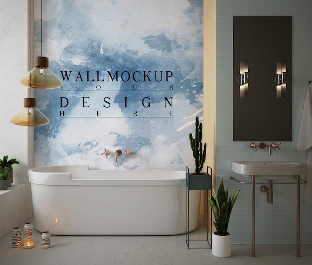 Мокап стены в современной и роскошной ванной комнате