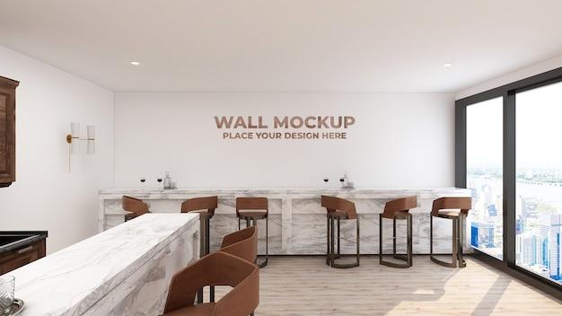 현대적인 고급 카페 바 인테리어의 모형 벽