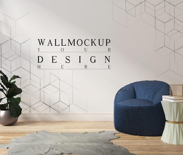 アームチェアとプランター付きのモダンな白いリビングルームのモックアップ壁
