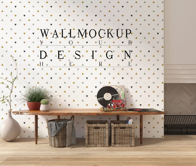 벤치와 현대 흰색 거실에서 이랑 벽