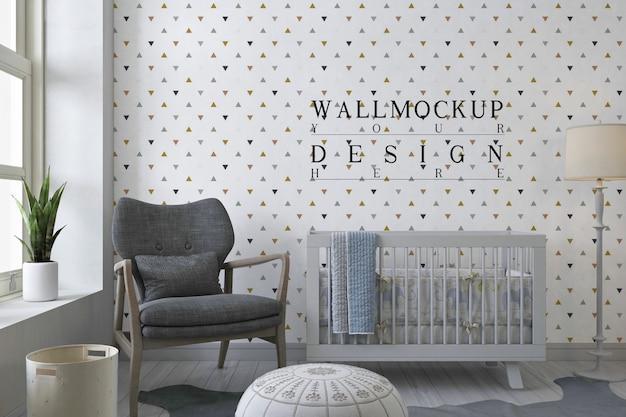 モダンな白い保育室のモックアップ壁