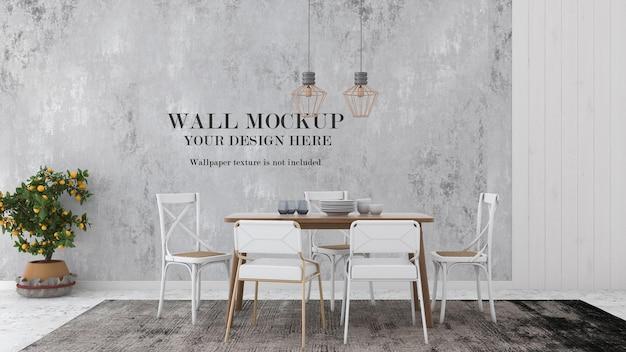 Мокап стены в простой столовой в стиле кантри