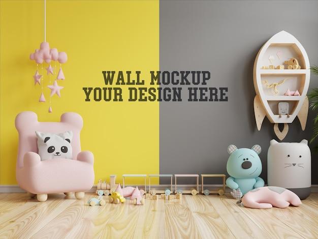 黄色の照明と究極の灰色の壁の子供部屋のモックアップ壁