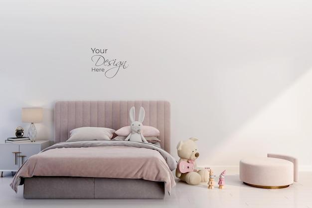 Макет стены в детской комнате на белом фоне стены