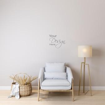 흰색 벽 배경에 안락의자가 있는 거실의 모형 벽