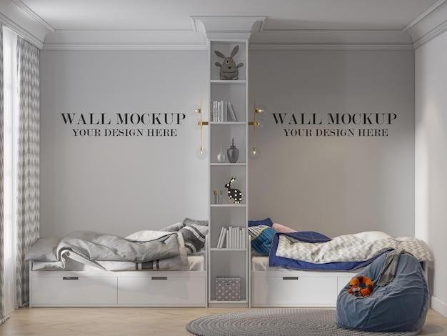 本棚で分割されたツインベッドルームのモックアップ壁