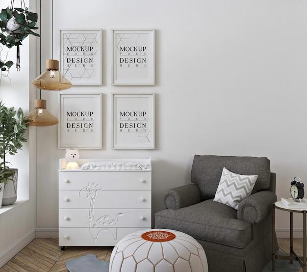 Мокап стены в белой детской спальне