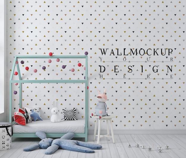 白い子供の寝室のモックアップ壁