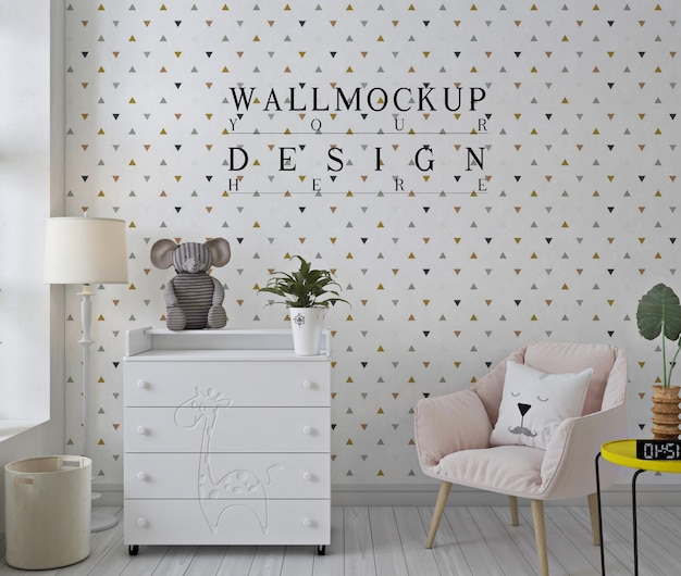 ピンクの椅子と白い保育室のモックアップ壁