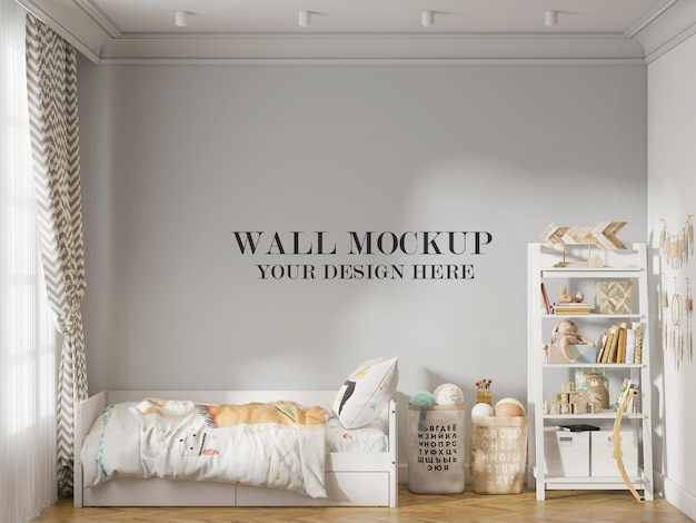 Mockup wall in kids room furnished with white furniture