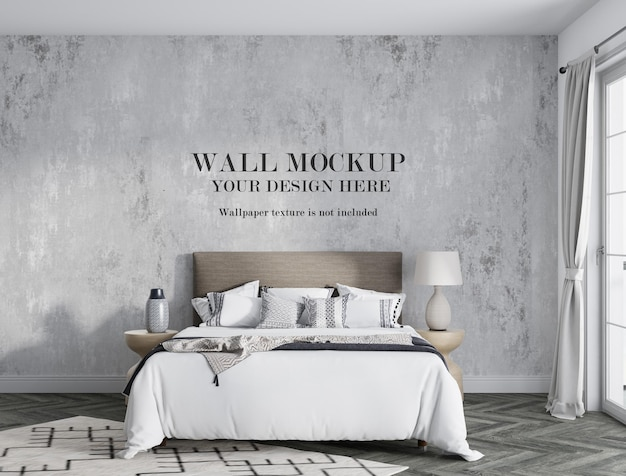 Mockup wall behind modern bed with minimalist furniture